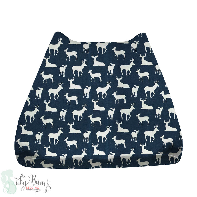 Navy Deer Woodland Baby Changing Pad Cover