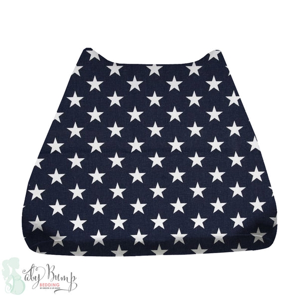 Navy Blue & White Stars Baby Changing Pad Cover