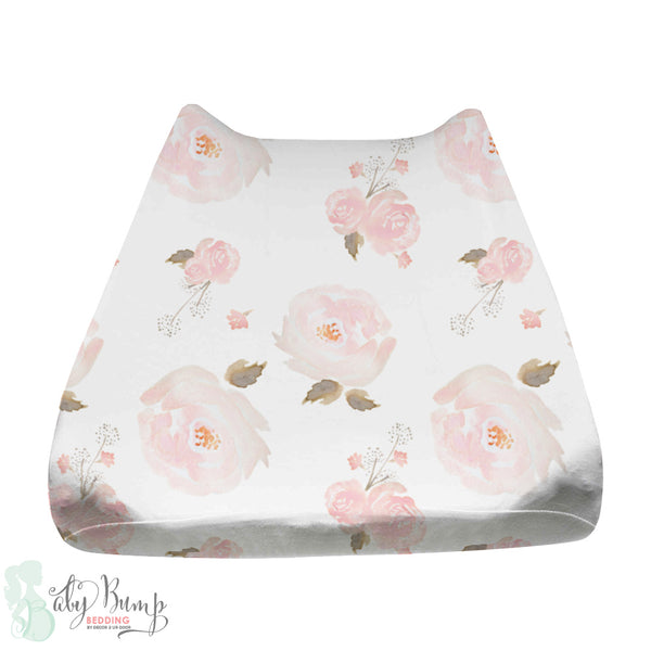 Pastel Floral Baby Changing Pad Cover