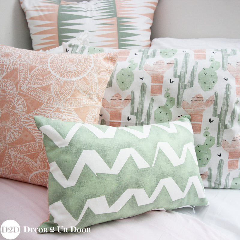Peach & Green Euro Pillow Cover