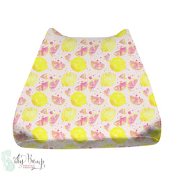 Watercolor Pink Lemonade Baby Changing Pad Cover