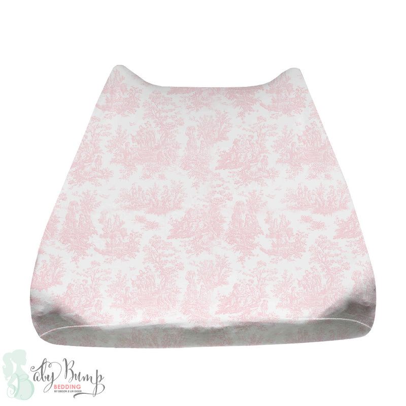 Shabby Chic Pink Toile Baby Changing Pad Cover