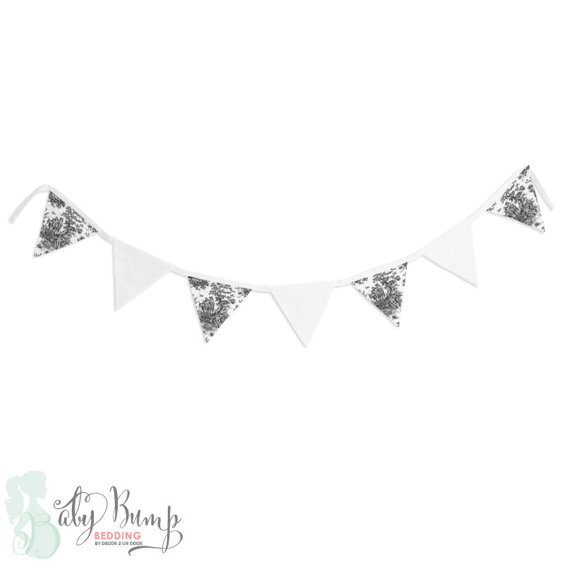 Shabby Chic Black & White Toile Wall Fabric Pennant Banner