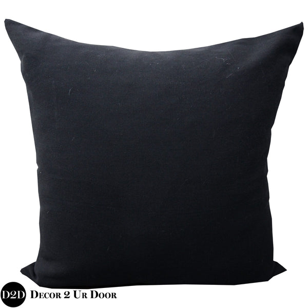 Solid Black Square Decorative Throw Pillow Cover