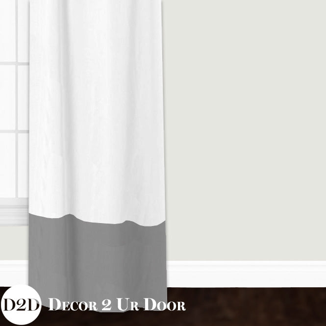White Linen & Grey Custom Window Curtain/Closet Panel