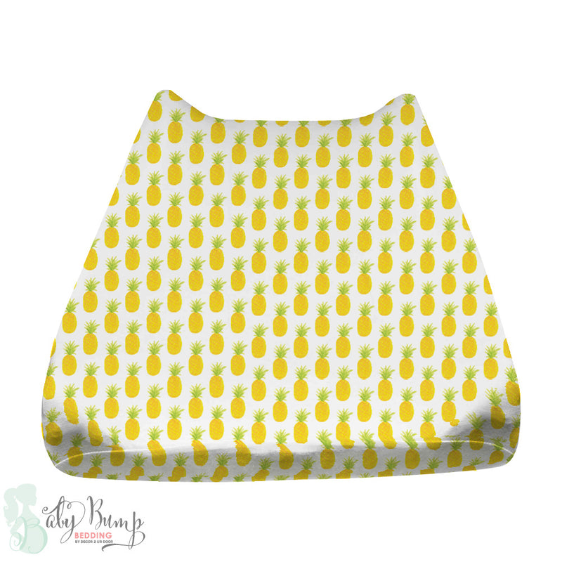 Watercolor Pineapple Baby Changing Pad Cover