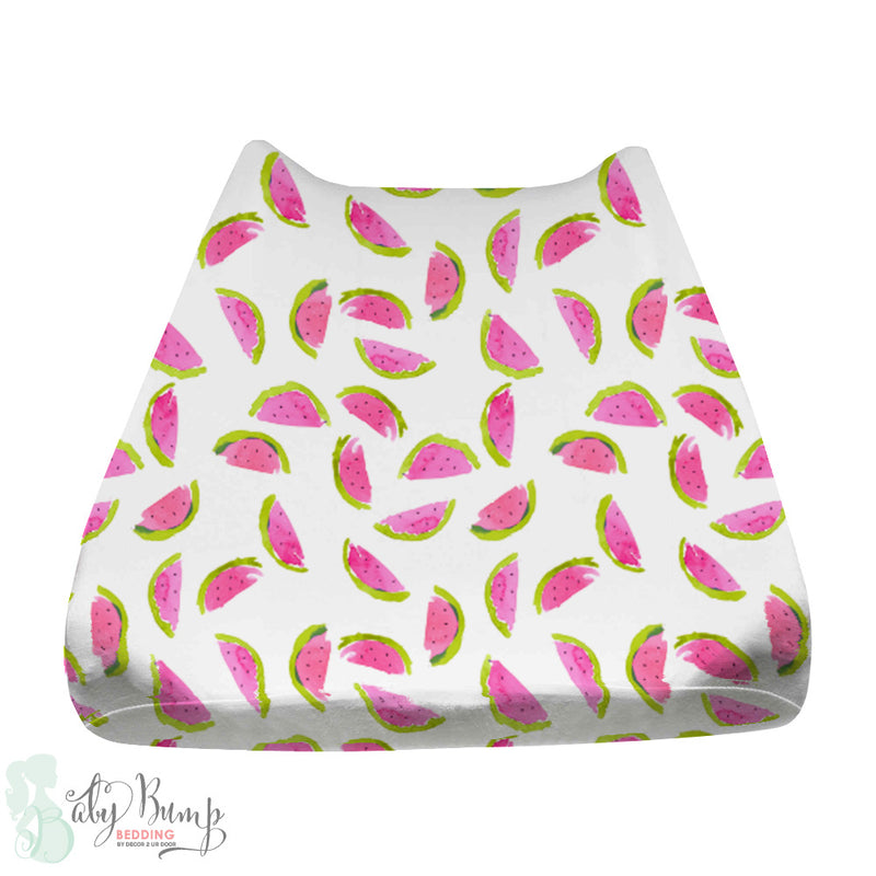Watercolor Watermelon Baby Changing Pad Cover