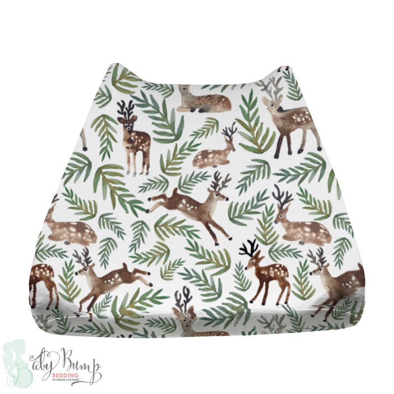 Watercolor Woodland Deer Baby Changing Pad Cover