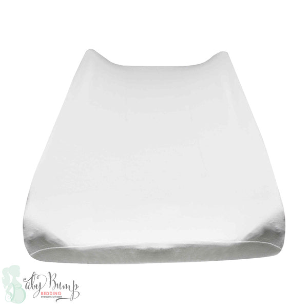 Solid White Baby Changing Pad Cover