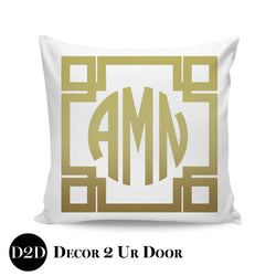 Greek Key Border + Monogram Square Personalized Pillow Cover