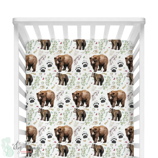 Adventure Woodland Bear Cub Bumperless Crib Bedding Set