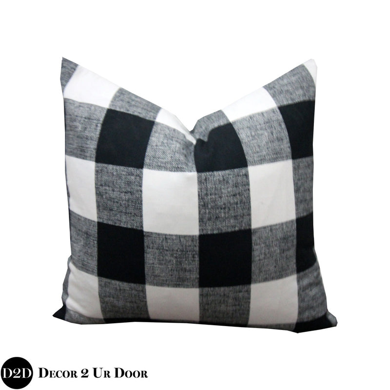 Black and White Plaid Square Pillow Cover
