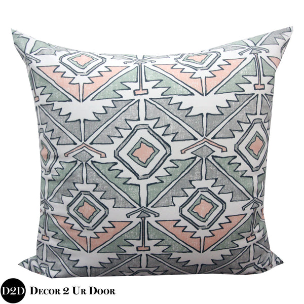 Aztec Peach & Green Euro Pillow Cover