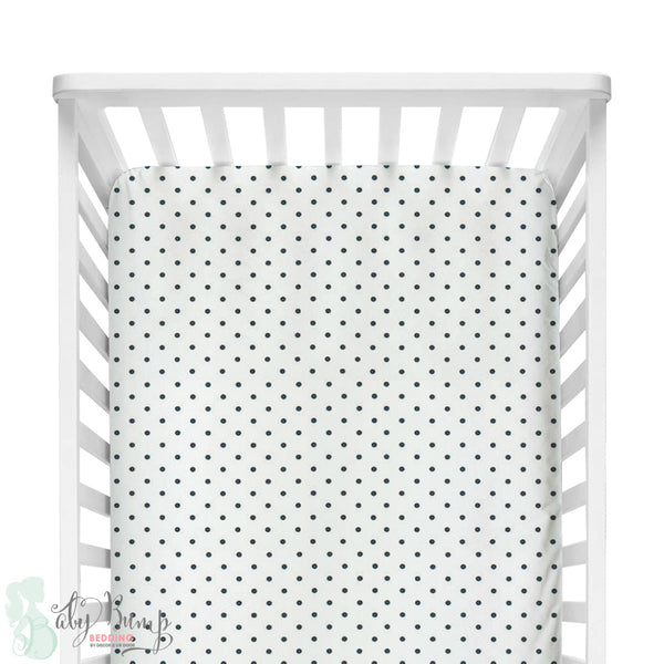 Black & White Mini Polka Dots Fitted Crib Sheet