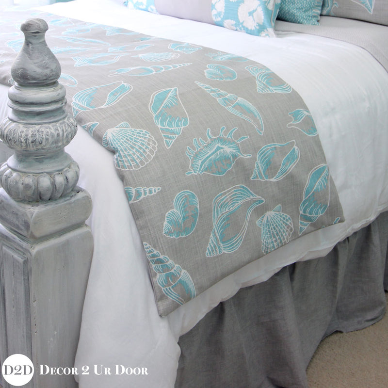 Blue & Grey Beach Shells Bed Scarf