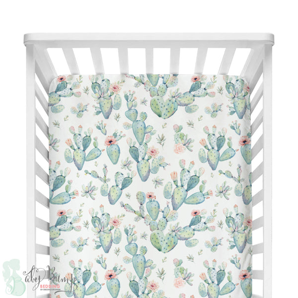 Boho Cactus Bumperless Crib Bedding Set