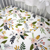 Boho Floral Woodland Bumperless Crib Bedding Set