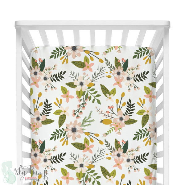 Boho Floral Woodland Fitted Crib Sheet