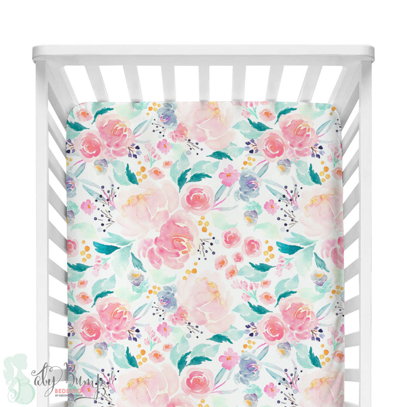 Bright and Beautiful Watercolor Floral Fitted Crib Sheet
