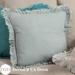 Blue Linen Frayed Frilly Square Pillow Cover