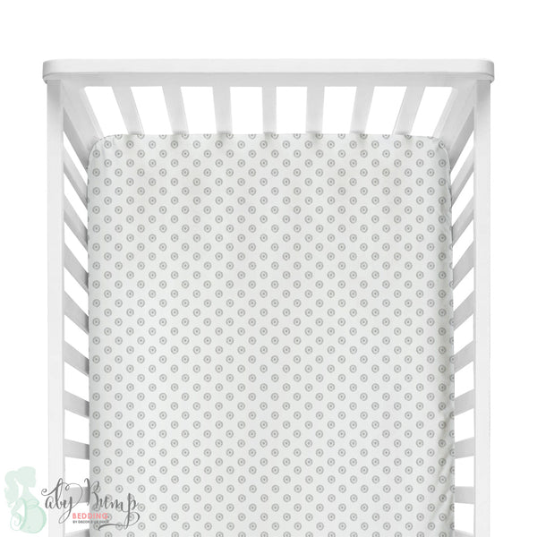 Grey Chelsea Dots Fitted Crib Sheet