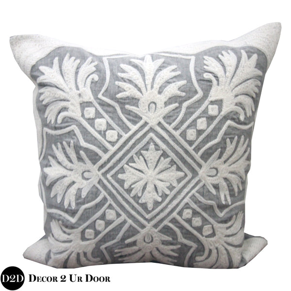 Ivory & Grey Ornate Square Pillow Cover