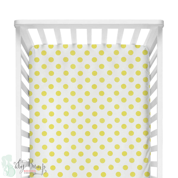 Metallic Gold Polka Dots Fitted Crib Sheet