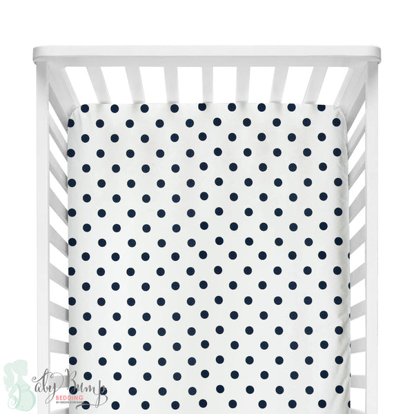 White and Navy Blue Polka Dots Fitted Crib Sheet