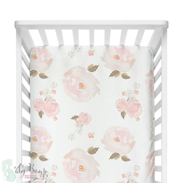Pastel Floral Bumperless Crib Bedding Set