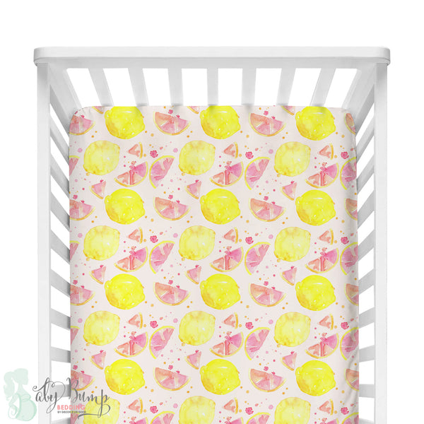 Watercolor Pink Lemonade Bumperless Crib Bedding Set