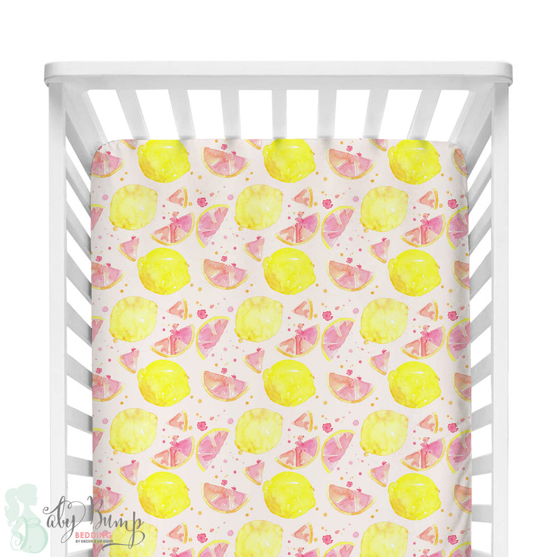 Watercolor Pink Lemonade Fitted Crib Sheet