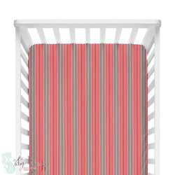 Red and White Stripes Fitted Crib Sheet