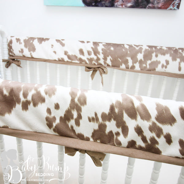 Tan Cowhide 2-in-1 Crib Bumper/Rail Cover