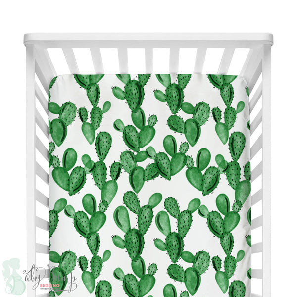 Watercolor Cactus Fitted Crib Sheet