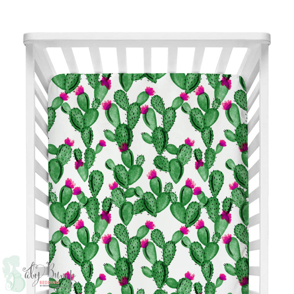 Watercolor Cactus & Hot Pink Bumperless Crib Bedding Set