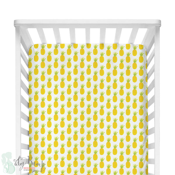 Watercolor Pineapple Fitted Crib Sheet