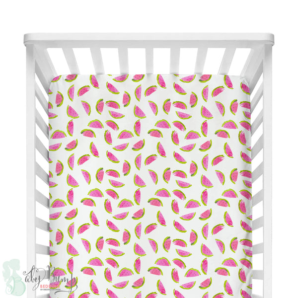 Watercolor Watermelon Fitted Crib Sheet