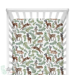 Watercolor Woodland Deer Fitted Crib Sheet