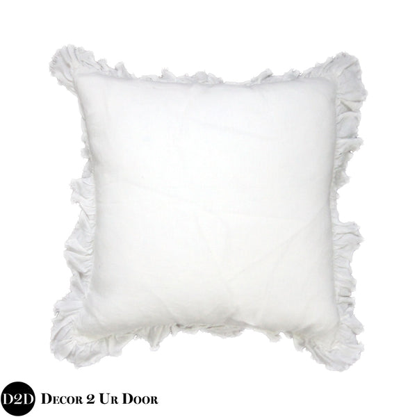 White Linen Frayed Frilly Square Pillow Cover