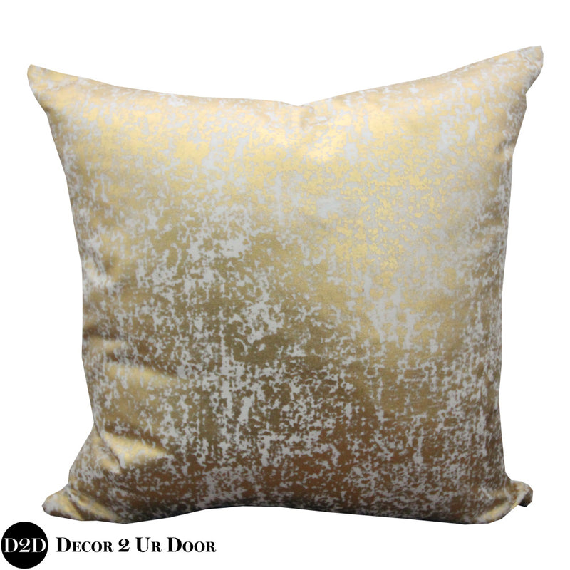 White & Metallic Gold Foil Print Square Pillow Cover