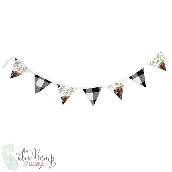 Adventure Woodland Bear Cub Wall Fabric Pennant Banner