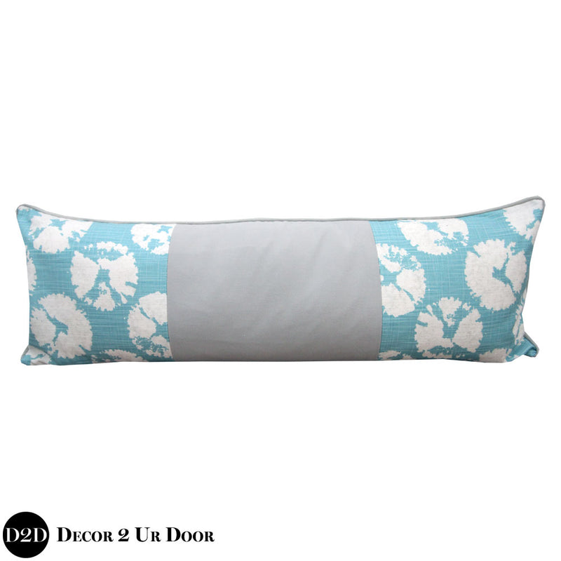 Blue & Grey Sand Dollar Coastal Long Lumbar Pillow Cover