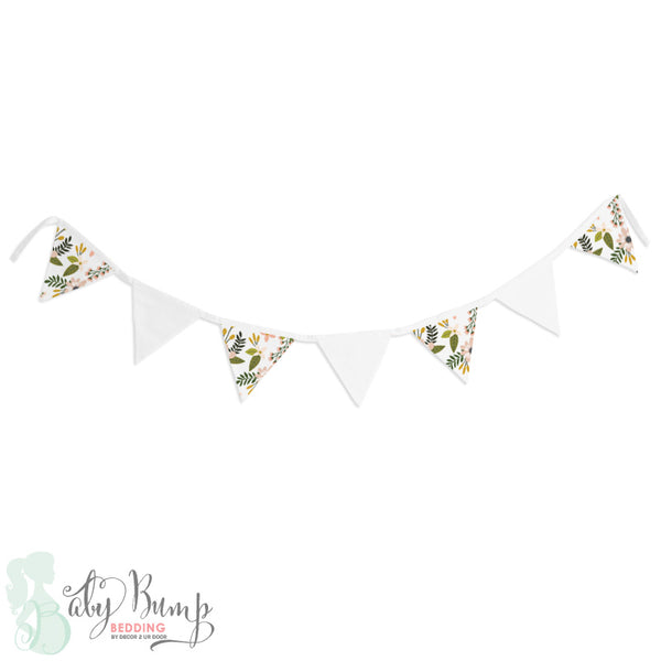 Boho Floral Woodland Wall Fabric Pennant Banner
