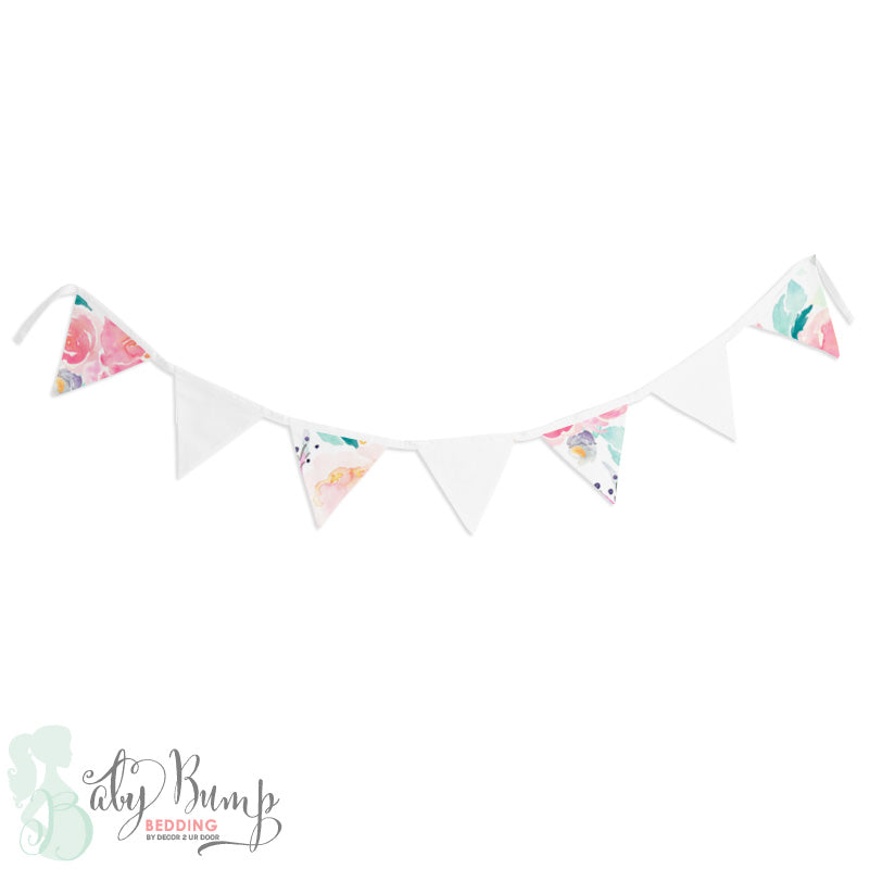 Bright and Beautiful Watercolor Floral Wall Fabric Pennant Banner