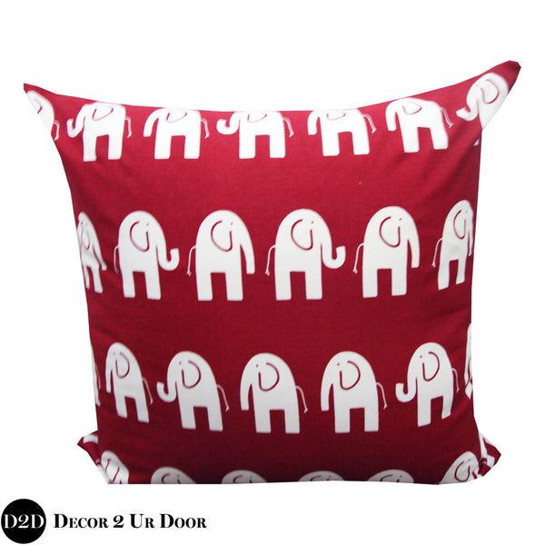 Crimson Red Elephant Print Euro Pillow Cover