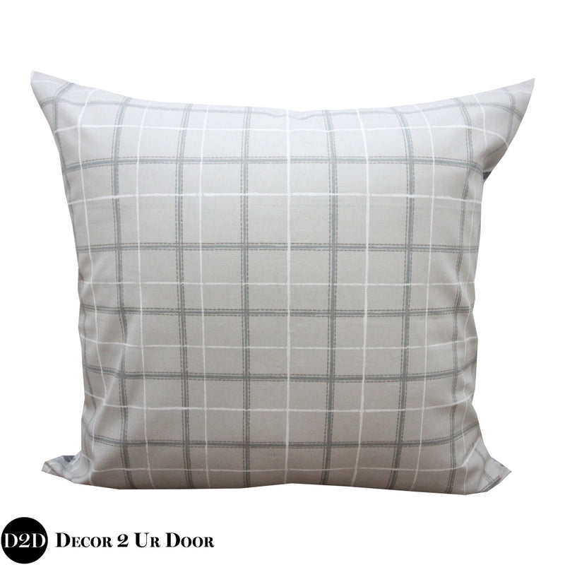 Grey Plaid Euro Pillow Cover