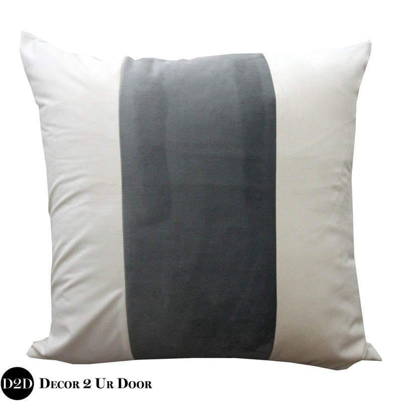 Ivory & Grey Velvet Euro Pillow Cover