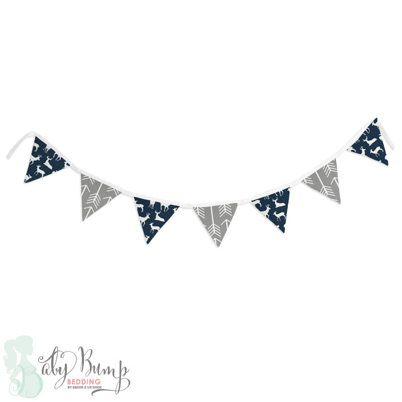 Navy Deer Woodland Wall Fabric Pennant Banner