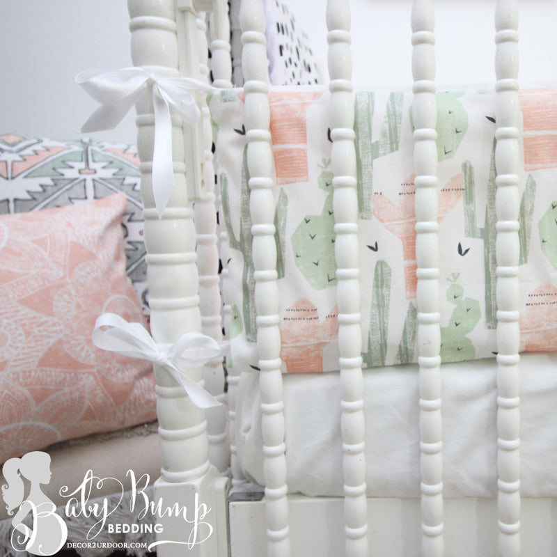 Peach & Green Cactus 2-in-1 Crib Bumper/Rail Cover