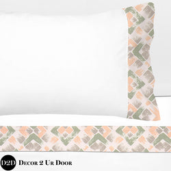 Peach, Green & Grey 100% Cotton Banded Sheet Set
